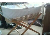 Moses basket on stand. Good clean condition. Read ad.