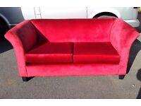 Beautiful Red Velvet 2 Seat Sofa
