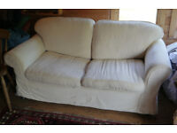 2 seater sofa bed, cream cotton removable covers, double settee / couch,