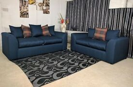 new dylan range sofa 3 & 2 blue cane fabric with spring base & foam seats corner furniture