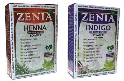 Pure Herbal 100g Henna + 100g Indigo Powder Hair Dye CROP 2017 Mehandi Mehendi (Herbal Henna)