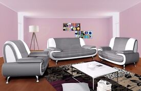 """""""""""LIMITED EDITION"""""""" """"CAROL SOFA SUITE"""" - GREY AND WHITE- FAUX LEATHER 3 AND 2 SEATER SOFA --"""