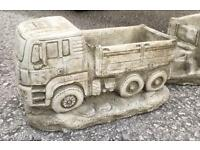 Stone truck Planter with trailer 30 inches long