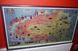 THANKA MAP OF TIBET, BUDDHIST & TRIBAL TRADITIONAL COSTUME, DHARAMSALA