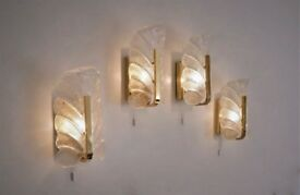 Brass wall lights set of 4 Carl Fagerlund Orrefors, 1960`s, Swedish