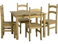 New Solid Cheap Corona Mexican Pine Compact Dining Table & 4 chairs £145 IN STOCK NOW (Pic 1 only)
