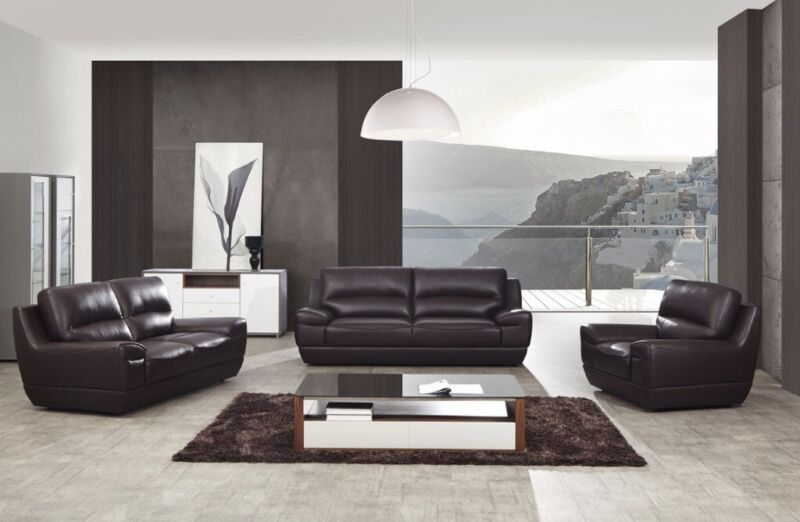 3pc Modern Dark Brown Italian Top Grain Leather Sofa Loveseat Chair Couch Set