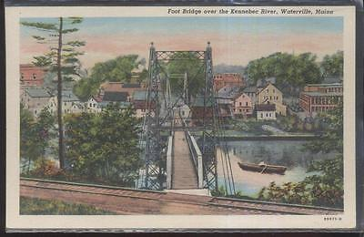 Foot Span Bridge - Postcard WATERVILLE Maine/ME  Local Area Steel Span Foot Bridge 1930's
