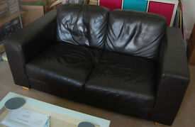 John Lewis brown leather sofa and two brown leather chairs