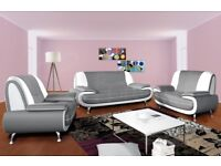 BLACK/RED OR GREY/WHITE BRAND NEW CAROL FAUX LEATHER 3 + 2 SEATER SOFA SET AVAILABLE FOR SAME DAY
