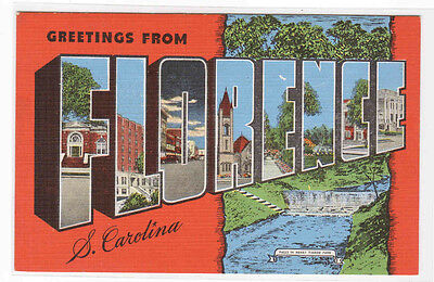 Greetings From Florence South Carolina Large Letter Linen postcard