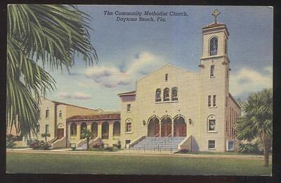 Postcard Daytona Beach Florida Fl  Community Methodist Church View 1930S