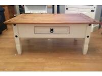 Shabby Chic Solid Wood Coffee Table with drawer