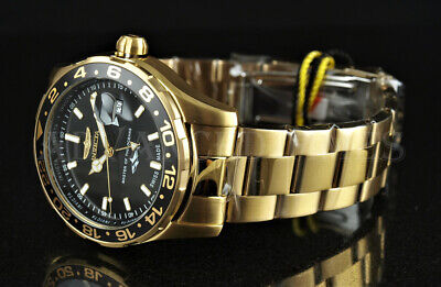 NEW Invicta 44mm Pro Diver SWISS MADE GMT 18k Gold Plated Stainless Steel Watch Gmt Quartz Watch