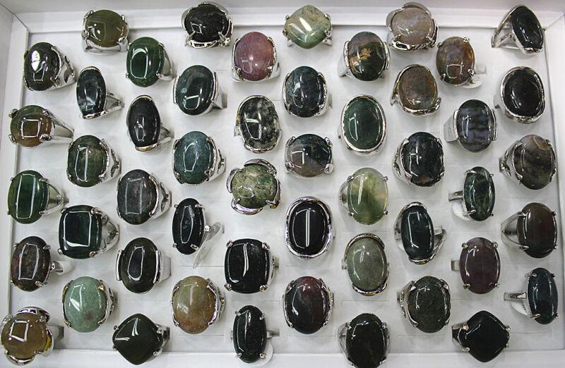 Fashion Jewelry Wholesale Lots 25pcs Mixed Big Natural Stone Lady