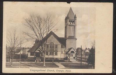 For sale Postcard ORANGE Massachusetts/MA Congregational Church w/Tall Bell Tower 1907