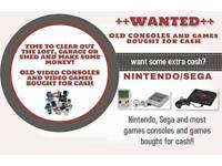 Wanted old games and consoles. Nintendo, sega, gameboys, playstation 1, Atari, handheld etc