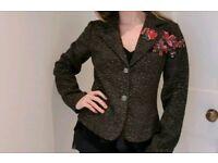 M&S Per Una Multicoloured Tweed Wool Blend Jacket Floral Emrboidery Size 10