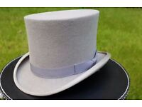 Vintage Soft, Grey Wool Felt Top Hat, Size L (59cm)