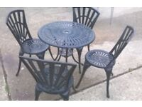 Cast Aluminium Garden table and 4 chairs set- Good condition