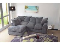 **14 DAY MONEY BACK GUARANTEE** Porto Jumbo Cord Fabric Corner Sofa Suite *FREE UK DELIVERY**