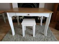 Lovely refurbished painted child's small desk dressing table with stool and drawer