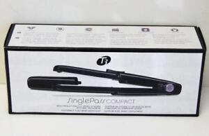 T3 SinglePass Compact Tourmaline Ceramic Flat Iron with Cap ( Model 73505) BLACK