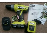 New unused Ryobi Cordless percussion hammer Combi drill & Batteries, 2 speed gearbox 24 torque set