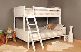 Triple Wooden Pine Heavy Duty Bunk Bed