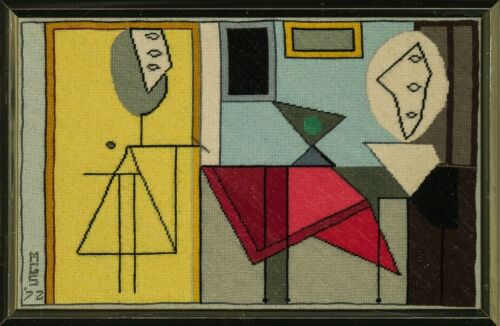Custom Picasso Abstract Needlepoint Framed Canvas