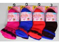 288 Pairs Girls Thermal Socks Assorted Colours Cotton Blend New Job Lot Stock Sizes 6-8 9-12 12½-3½