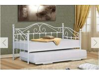 White Frame Day Bed With Pull Out Trundle Bed. NO MATTRESSES.
