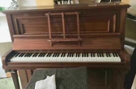 Nice upright piano. Plays beautifully. Will need collecting. Golden Triangle area
