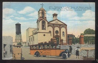 Postcard Juarez Mexico  El Paso Electric Co Motorcoach Tour Bus View 1920S