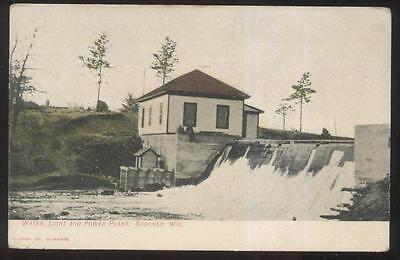 Postcard Spooner Wi Wisconsin Water Light   Power Dam House 1907