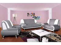 """""""70% OFF"""" """"BRAND NEW Carol Leather 3 AND 2 Seater Sofa in GREY AND WHITE COLOR """" SALE """"Extra Padded"""""""