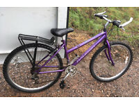 "Raleigh Vixen lady's mountain bike, 16"" small frame, 18 gears, 26"" wheels, rack, spares or repair"