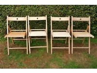 4 Ikea Wooden Folding Chairs Seats Home / Dining / Garden Upcycling Project Revarnishing Re Painting