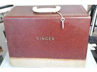 Vintage Singer Sewing Machine 185K in box with key
