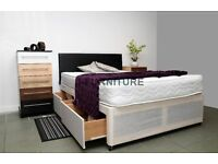 "NEW STOCK.SUPER DEALS! VERY GOOD QUALITY DIVAN BED WITH DEEP QUILT 8.5"" MATTRESS.ALL SIZES"