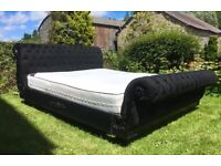 Stunning Black Burlesque Styled Sleigh Bed Imported from Dubai.