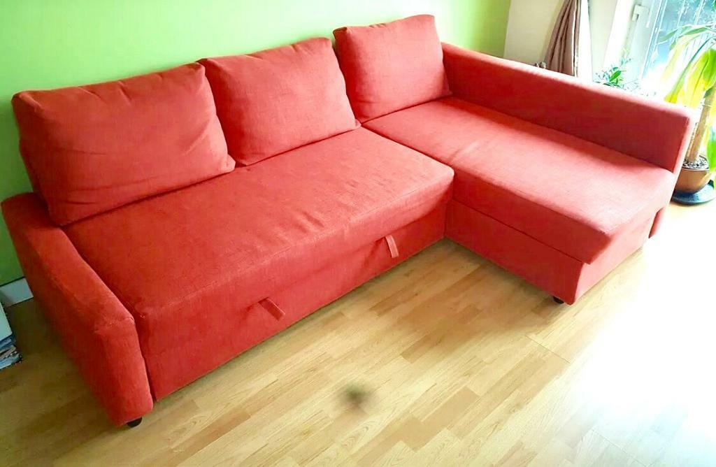 Corner Sofa Bed Dark Orange Colour With Storage   IKEA Farihiten. Good  Condition