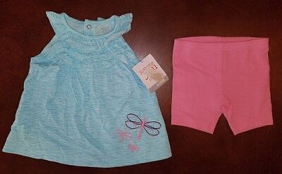 Carter's Infant Girl Firefly Blue Tunic Matching Shorts Outfit Set 6 Months New