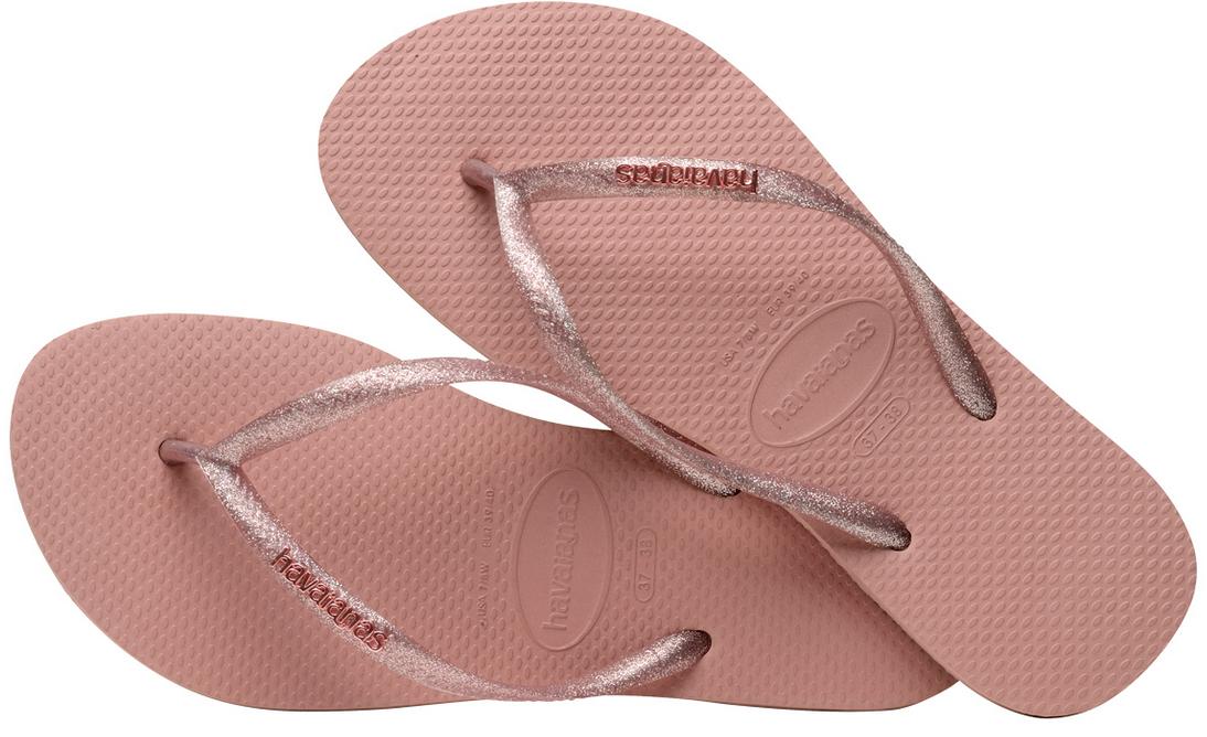 Havaianas Women`s Flip Flops Slim Logo Metallic Sandal Rose