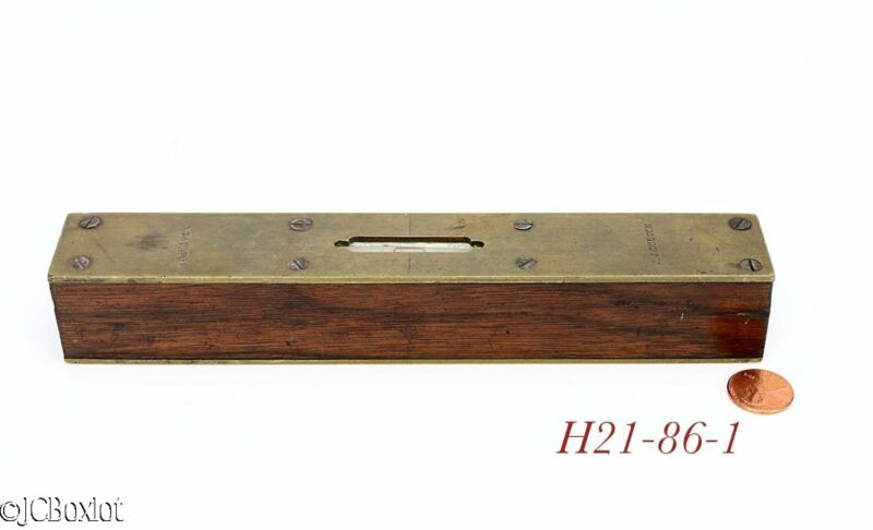 8 inch old antique ROSEWOOD BRASS CARPENTER MACHINIST TOOL LEVEL