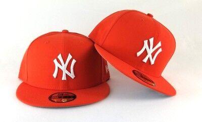 - New Era Orange New York Yankee 59Fifty Gray Bottom Fitted hat Cap