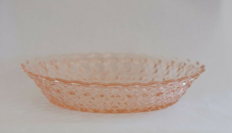 """Vintage Reproduction Holiday Buttons & Bows Pink Oval Bowl 9 1/2"""""""