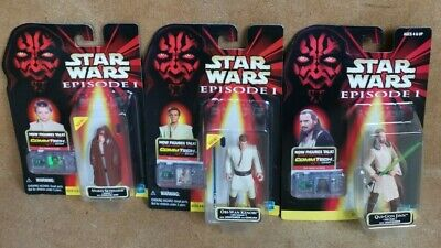 Star Wars Episode 1 Action Figure Bundle Obi-Wan Kenobi, Qui-Gon Jinn & Anakin