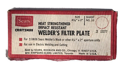 Vintage Sears Craftsman Heat Strengthened Impact Welders Filter Plate For Mask