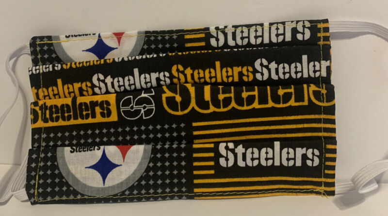 Pittsburgh Steelers Face Mask, Handmade Cotton Reusable With Pocket For Filter